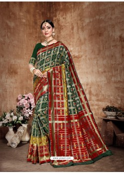 Dark Green Latest Designer Traditional Wear Banarasi Silk Sari