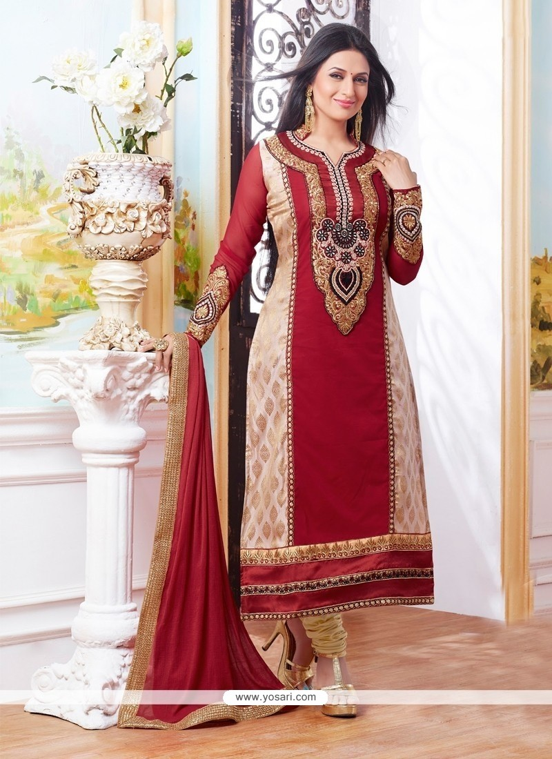 Fab Cotton Resham Work Churidar Designer Suit
