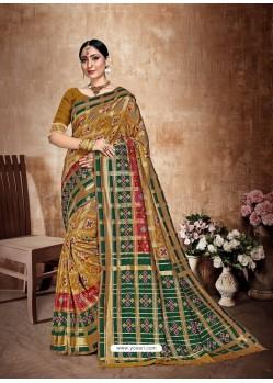 Mustard Latest Designer Traditional Wear Banarasi Silk Sari