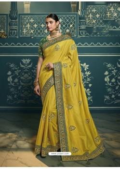 Lemon Embroidered Designer Traditional Wear Silk Sari