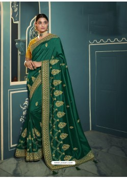 Dark Green Embroidered Designer Traditional Wear Silk Sari