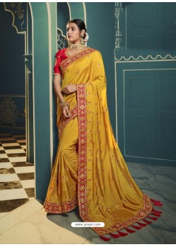 Yellow Embroidered Designer Traditional Wear Silk Sari