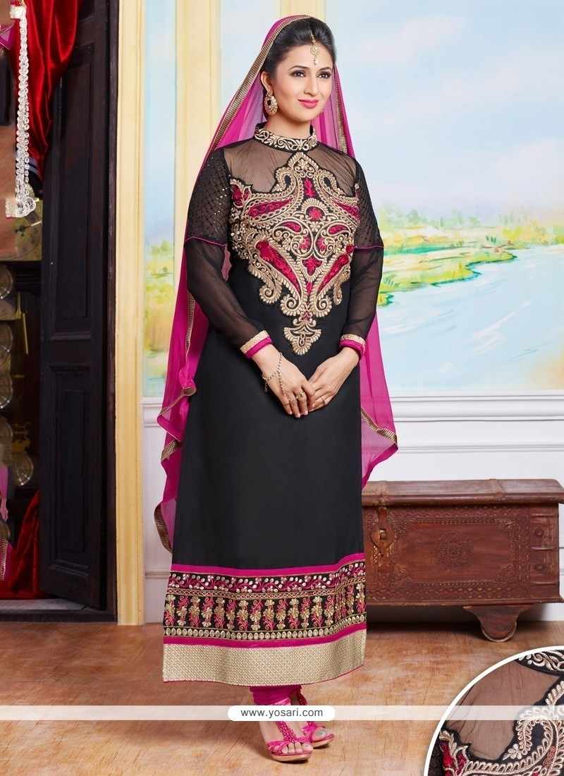 Princely Cotton Black Designer Straight Salwar Suit