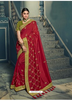 Red Embroidered Designer Traditional Wear Silk Sari