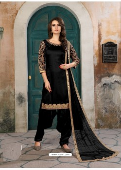 Black Designer Party Wear Art Silk Punjabi Patiala Suit
