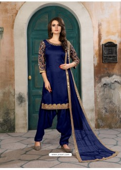Royal Blue Designer Party Wear Art Silk Punjabi Patiala Suit