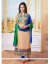 Graceful Cotton Resham Work Designer Straight Salwar Kameez