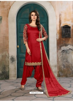 Red Designer Party Wear Art Silk Punjabi Patiala Suit