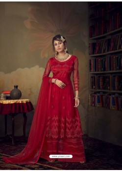 Red Heavy Designer Wedding Wear Net Sharara Suit