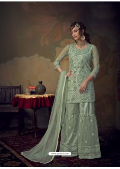 Sea Green Heavy Designer Wedding Wear Net Sharara Suit