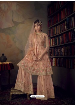 Light Orange Heavy Designer Wedding Wear Net Sharara Suit