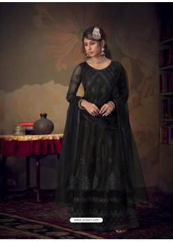 Black Heavy Designer Wedding Wear Net Sharara Suit