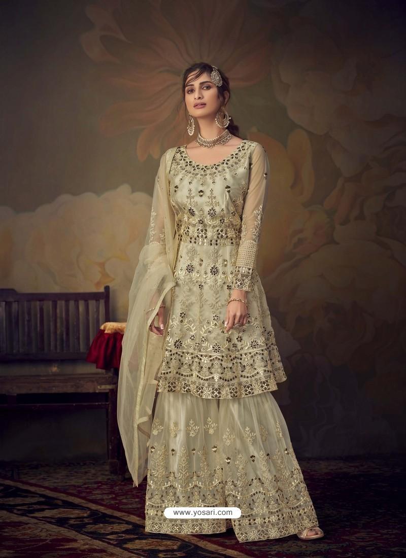 Cream Heavy Designer Wedding Wear Net Sharara Suit