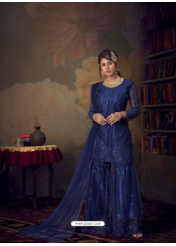 Royal Blue Heavy Designer Wedding Wear Net Sharara Suit