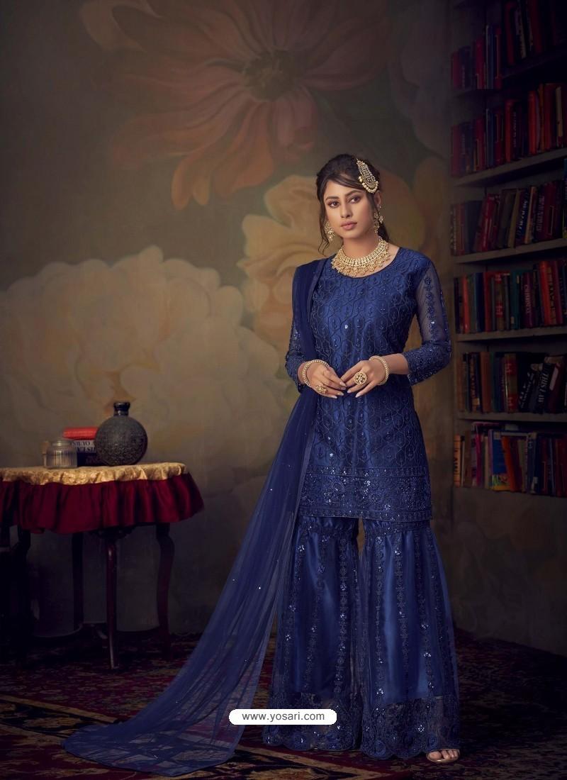 Royal Blue Heavy Designer Wedding Wear Net Sharara Suit