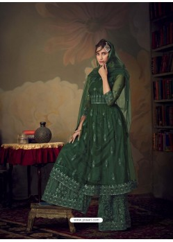 Dark Green Heavy Designer Wedding Wear Net Sharara Suit
