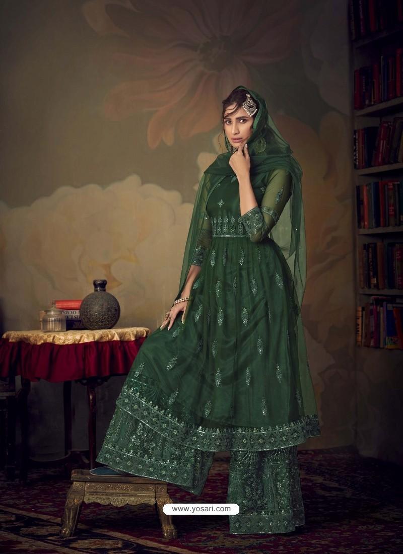 Dark Green Heavy Designer Wedding Wear Net Sharara Suit