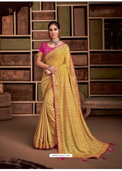 Mustard Groovy Embroidered Designer Party Wear Sari