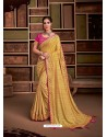 Mustard Groovy Embroidered Designer Party Wear Sari