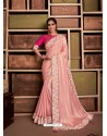 Baby Pink Groovy Embroidered Designer Party Wear Sari
