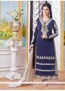 Fantastic Resham Work Cotton Navy Blue Designer Straight Suit