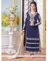 Fantastic Resham Work Cotton Navy Blue Designer Straight Suit
