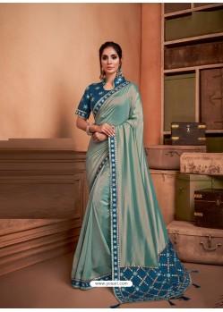 Grayish Green Groovy Embroidered Designer Party Wear Sari