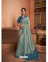 Grayish Green Groovy Embroidered Designer Party Wear Sari
