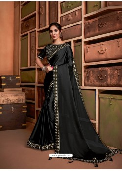 Black Groovy Embroidered Designer Party Wear Sari