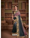 Multi Colour Groovy Embroidered Designer Party Wear Sari