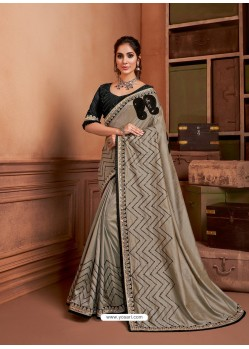 Light Grey Groovy Embroidered Designer Party Wear Sari