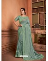 Sea Green Groovy Embroidered Designer Party Wear Sari
