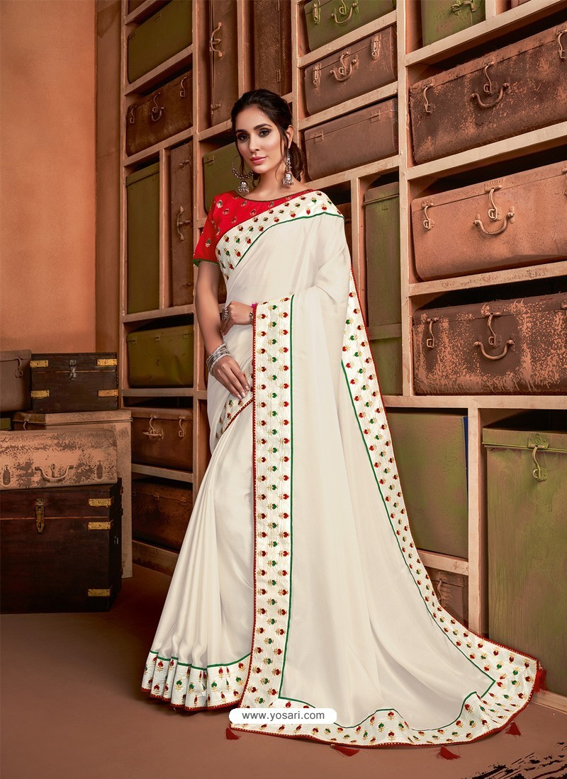 Off White Groovy Embroidered Designer Party Wear Sari