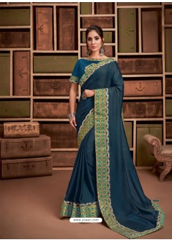 Teal Blue Groovy Embroidered Designer Party Wear Sari