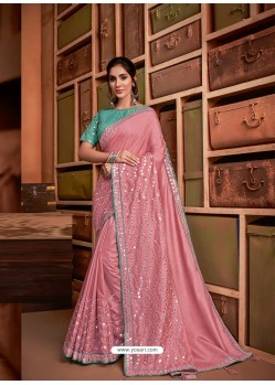 Pink Groovy Embroidered Designer Party Wear Sari