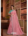 Pink Groovy Embroidered Designer Party Wear Sari