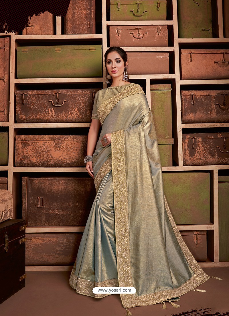 Beige And Gold Groovy Embroidered Designer Party Wear Sari