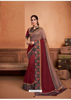 Wine Groovy Embroidered Designer Party Wear Sari