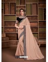 Peach Groovy Embroidered Designer Party Wear Sari
