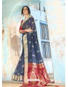Dark Blue Latest Designer Traditional Wear Silk Handloom Sari