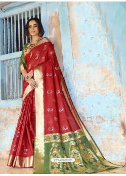 Red Latest Designer Traditional Wear Silk Handloom Sari