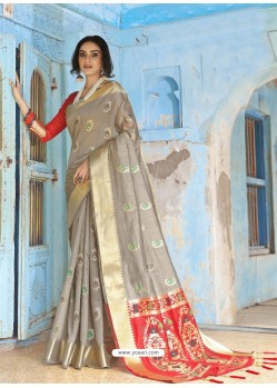 Grey Latest Designer Traditional Wear Silk Handloom Sari