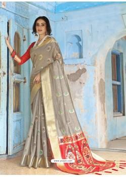 Grey Latest Designer Traditional Wear Silk Handloom Sari