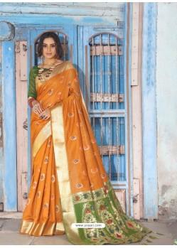 Mustard Latest Designer Traditional Wear Silk Handloom Sari
