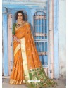 Mustard Latest Designer Traditional Wear Silk Handloom Sari