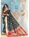 Black Latest Designer Traditional Wear Silk Handloom Sari