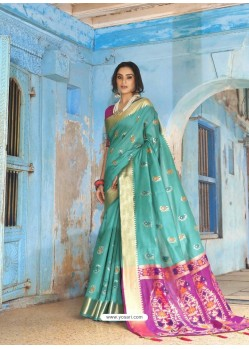 Turquoise Latest Designer Traditional Wear Silk Handloom Sari