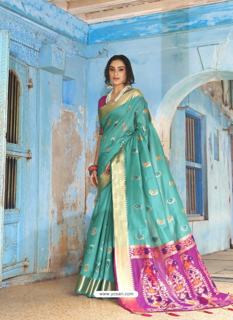 Turquoise Latest Designer Traditional Wear Silk Handloom Sari