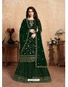 Dark Green Designer Party Wear Faux Georgette Wedding Lehenga Suit