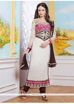 Lustre Embroidered Work Designer Straight Salwar Kameez
